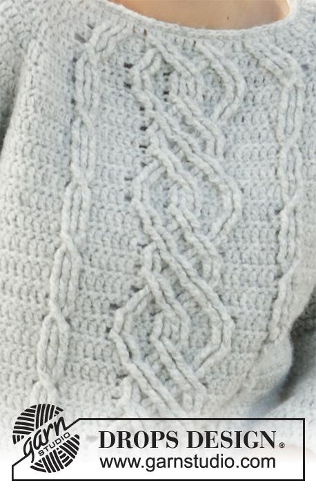 Graceful Cables heklet genser med raglan Drops 210 12