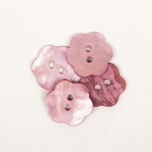 DROPS perlemorknapp - blomst - rosa 616 - 15mm