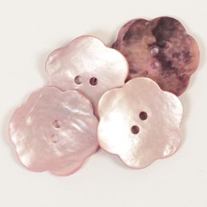 Blomst perlemorknapp lys rosa 25 mm