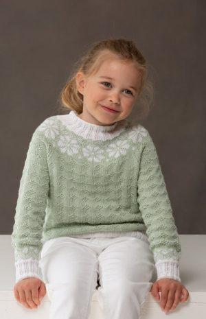 Amanda genser (barn) Strikkepakke Strikk.no